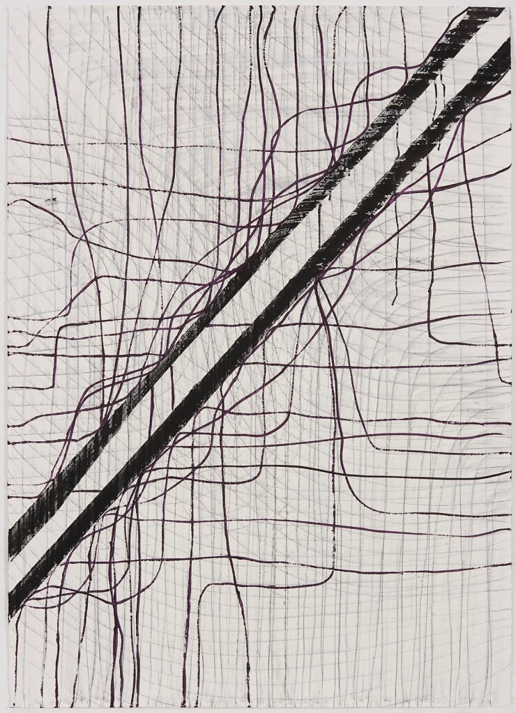 KDC 117, Thomas Müller, Untitled, 2017, Chalk, Indian ink and oil colour on paper, 160 x 115 cm